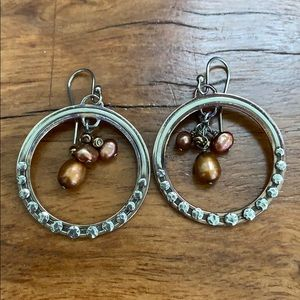 Silpada pearl hoop dangle earrings